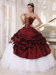Burgundy Sweetheart Appliques Pick Ups Taffeta and Tulle Sweet 16 Dresses