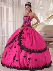 Appliques Strapless Floor-length Layered Hot Pink Dresses Quinceaneras