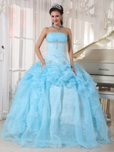Baby Blue Ruffled Strapless Beading Organza Lace Up Back Sweet 15 Dresses