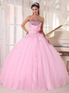 Tulle Strapless Beading Ruches Baby Pink Puffy Quinceaneras Gowns