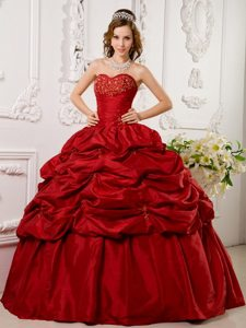 Pick Ups Beading Sweetheart Taffeta Red Quinceanera Dress in Lace Up Back