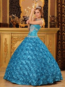 Rolling Flowers Sweetheart Appliques Floor-length Teal Quinceanera Dress