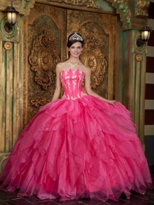 Layers Strapless Appliques Floor-length Hot Pink Organza Quinceanera Gown