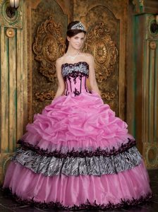 Zebra Fabric Strapless Picks-Up Appliques Rose Pink Quinceanera Dresses