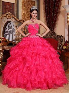 Ruffled Sweetheart Beading Floor-length Organza Coral Red Sweet 15 Dresses