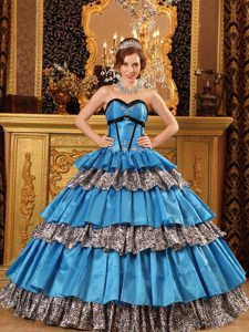 Sweetheart Layered Taffeta Blue Quinceanera Dress with Beading and Ruffles