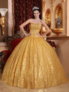 Sequin Beading Sweetheart Gold Lace Up Floor-length Quinceanera Gowns