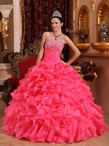 Appliques Beading Appliques Strapless Organza Quinceanera Gowns on Sale