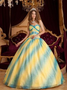 Discount Ombre Beading Sweetheart Back Out Organza Quinceanera Dresses