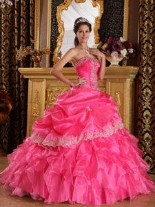 Strapless Appliques Ruffled Layers Hot Pink Organza Dresses For a Quinceanera