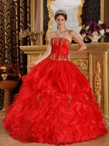 Red Appliques Strapless Ruffled Organza Lace Up Back Sweet 15 Dresses