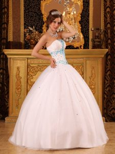 Ruched Strapless Beading Floor-length White Back Out Quinceaneras Dresses