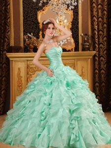 Beading Sweetheart Ruffles Organza Lace Up Apple Green Quinceanera Dress