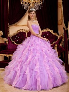 Ruffled Sweetheart Beading Two-tone Ruched Organza Quinceanera Dresses