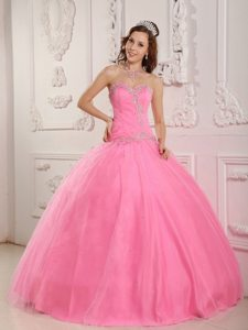 Sweetheart Beading Appliques Tulle Rose Pink Lace Up Back Quinceanera Gown