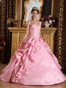 Straps Beading and Appliques Floor-length Pink Taffeta Quinceanera Gowns