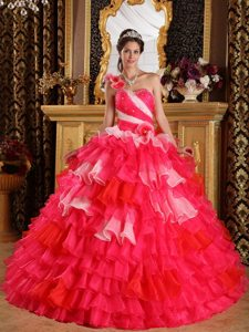 One Shoulder Ruffles Beading Multi-color Organza Layers Quinceanera Dress