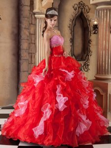 Colorful Strapless Beading and Ruffles Floor-length Organza Quinceanera Gown