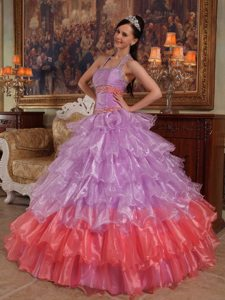 Halter Beading Ruffled Layers Multi-color Organza Dresses For Quinceaneras