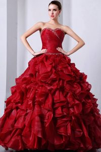 Sweetheart Beading and Ruffles Red Organza Ruched Quinceanera Gowns