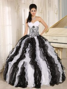 Appliques Ruffled Sweetheart White and Black Zebra Print Quinceanera Dress
