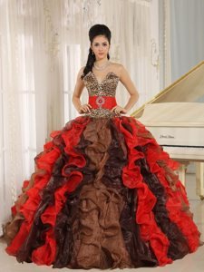 V-neck Beading Multi-color Quinceanera Dress with Ruffles and Leopard Print