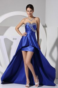 Beading Decorate Sweetheart High-low Prom Dress in Royal Blue