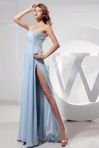 2014 Light Blue One Shoulder and High Slit Prom Dress With Beading