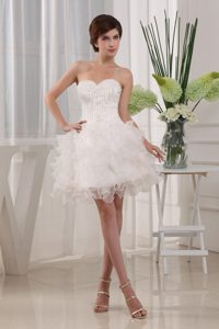 Baby Doll White Prom Cocktail Dress With Sweetheart and Ruffles