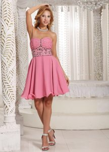 A-line Short Rose Pink Prom Cocktail Dress With Beading Decorate