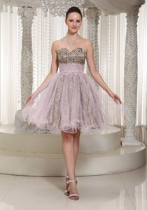 Sweetheart Knee-length Leopard and Organza Prom Dress 2013