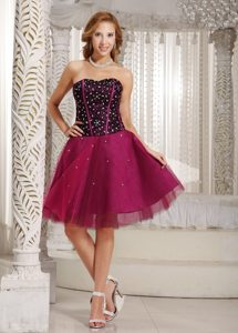 Sweetheart A-line Beading Tulle Prom/Cocktail Dress in Fuchsia