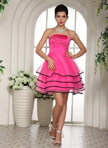 Hot Pink and Black Appliques and Beading Prom Dress with Layers