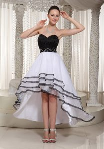 Black and White Organza Sweetheart Belt Beading High-low Prom Dress