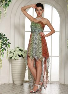 Fashionable Leopard Chiffon Empire Sweetheart High-low Prom Dress