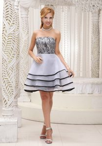 Grey A-line Strapless Mini-length Tiered Organza Zebra Prom Dress