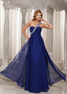Navy Blue One Shoulder Empire Prom Dress With Ruching and Beading