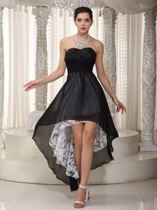 Sweetheart Black Empire High-low Chiffon and Lace Ruched Prom Dress