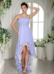 Lilac Chiffon High-low Prom Dress with Beaded Decorate Waist