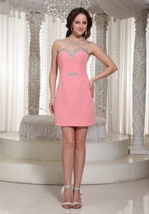 Sweetheart Watermelon Red Column Sequin Mini-length Prom Dress