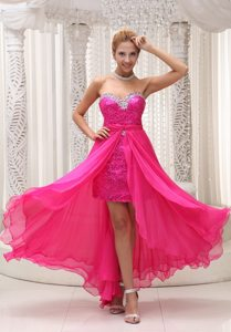 Beaded Decorate Sweetheart Sequin Detachable Hot Pink Prom Dress
