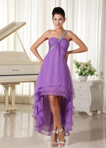 High-low Beaded Decorate One Shoulder 2013 Prom Dress Chiffon