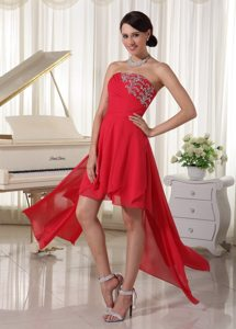 High-low Strapless Beading and Ruches Red Chiffon Prom Bridesmaid Dress
