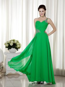 One Shoulder Beading Ankle-length Green Chiffon Prom Cocktail Dress