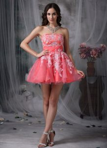 A-line Strapless Watermelon Organza Appliques Mini-length Prom Dress