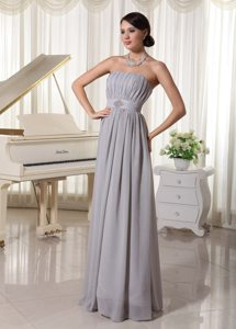 Simple Grey Empire Strapless Prom Dress With Ruching and Beading