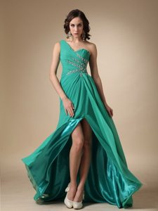 One Shoulder Turquoise Empire Beaded and Ruched High Slit Prom Dress