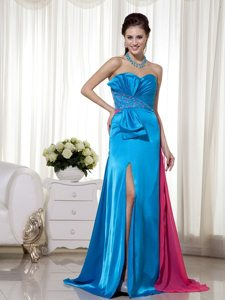 Sky Blue and Pink Sweetheart Beading and Ruching High Slit Prom Dress