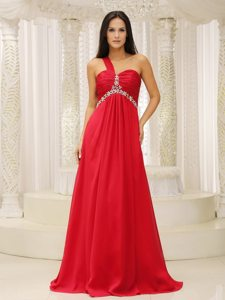 One Shoulder Red Chiffon Prom Dress with Ruching and Appliques