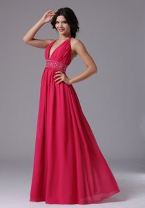 Deep V-neck Coral Red Halter 2013 Prom Dress With Beading and Ruche